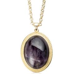 AN.宝石款椭圆紫晶项链 货号116339