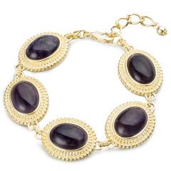 AN.宝石款椭圆紫晶手链 货号116340