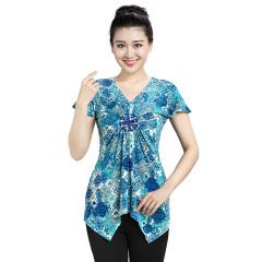 N.L女式V领短翼袖衫