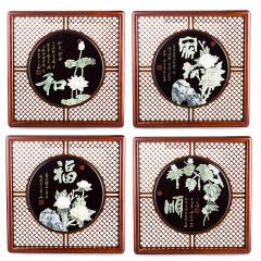 《家和福顺》玉雕画四斗方 货号119626