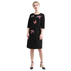 DS黑色飞鸟款长袖连衣裙