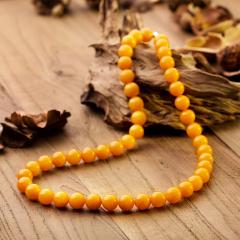 工美珠宝吉祥如意蜜蜡圆珠项链
