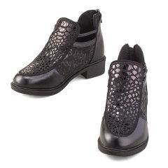 箴美璀璨星光头层牛皮女鞋黑色