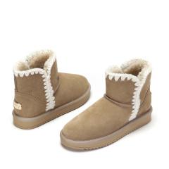 达芙妮(DAPHNE)冬季新款舒适百搭花边牛皮绒面雪地靴1016608009