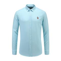 男士商务休闲长袖浅格纹翻领衬衫23635126