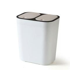 家用厨房客厅卫生间按压式双盖垃圾桶(只有米白色款)