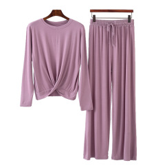 莫代尔长袖T恤女早秋圆领宽松上衣大码阔腿裤两件套薄款睡衣套装