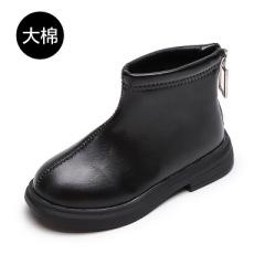 聚邦 女童低筒短靴2020年秋冬大棉保暖童鞋靴子防滑拉链男学生鞋百搭潮