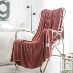 斜月三星 冬季保暖自发热毛毯 微米粒吸湿毛巾毯 单双人床单