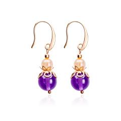 芭法娜 玲珑紫伊 天然紫水晶配金发晶时尚耳钩