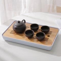 鼎匠竹木功夫茶盘套装2件套茶海茶台茶托盛储水式托盘茶托
