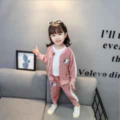 秋季新品中小童套装 2019女宝宝童套装 宝宝秋款小猫灯芯绒套装