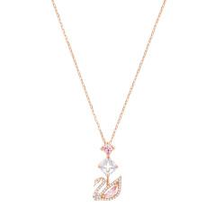 Swarovski 施华洛世奇 女士镀玫瑰金色粉色天鹅吊坠项链