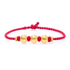 芭法娜 福星高照 3D立体硬金黄金足金手工编织转运珠手链 可调节长短