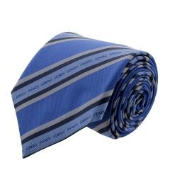 FENDI/芬迪 男士湖蓝色底 天蓝条纹LOGO刺绣领带