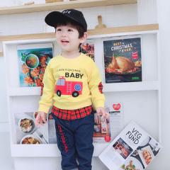 菲儿小屋  2019款秋季童套装 1-4岁套头卫衣套装 男宝宝卡通消防车儿童秋装