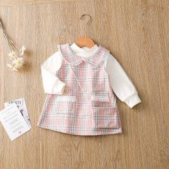 春装新款女童格纹小裙子 洋气波浪领女宝宝长袖公主裙两件套
