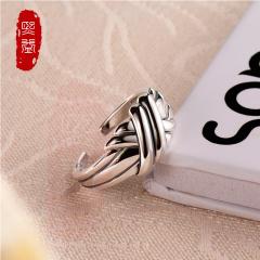 熙益 S925银戒指 女式开口韩版光面指环简约线条尾戒