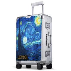 利马赫定制绘画金属智能拉杆箱铝镁合金商务登记行李旅行箱