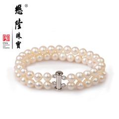 懋隆强光正圆双排淡水珍珠手链送母亲女款礼物正品