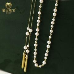 慕古 【一带一路外销款】设计款时尚两用款珍珠项链