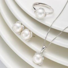 DODOBEL WOMAN 日韩百搭珍珠近圆耳钉戒指吊坠三件套
