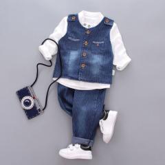 菲儿小屋    2019童套装 细条牛仔 三件套宝宝套装 中小童韩版秋季套装