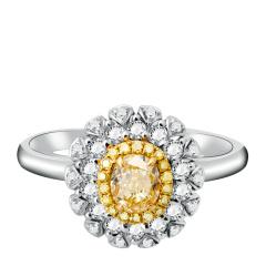 芭法娜 向阳花开 0.49ct 18K金天然黄钻彩钻奢华钻石女戒