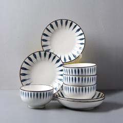 【薇娅推荐】16件套日式和风千叶草手绘釉下彩餐具陶瓷套装