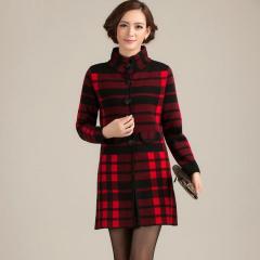 瑅艾女士经典简约奢华格子羊毛大衣 CBM1688(2色可选)