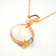 琳福珠宝 S925银镀玫瑰金镶嵌和田白玉福袋吊坠项链