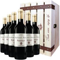 法国原装进口巴图太太波尔多干红葡萄酒六支装加赠礼箱套组