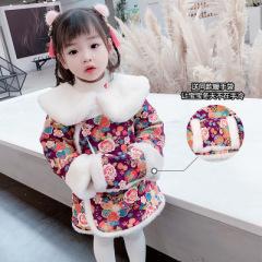 女童加厚旗袍秋冬装2020新款古装女宝宝中国风汉服公主唐装拜年服