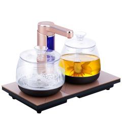 欧博(OPO)S213L 电水壶自动上水不锈钢烧水壶套装玻璃养生壶玫瑰金