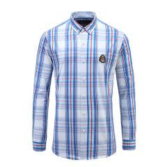 男士商务休闲衬衫纽扣翻领格纹修身衬衫23635107