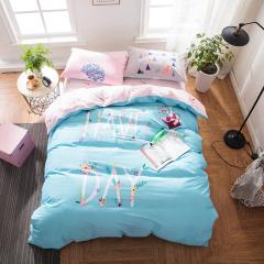 VIPLIFE家纺 清新文艺全棉四件套纯棉床单被套 活性喷气印染床品套件--清新回忆