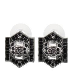 CHANEL/香奈儿 女士钨钢色镶嵌水晶复古风耳钉