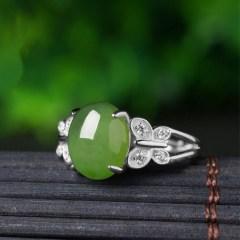 琳福珠宝 925银镶和田碧玉老料菠菜绿和田玉女款戒带(带证书)