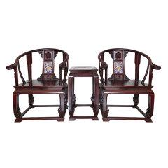黑酸枝镶嵌景泰蓝皇宫椅