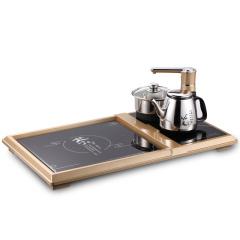 欧博(OPO)S316 电热水壶 自动旋转上水壶 不锈钢烧水壶多功能组合电子大茶盘茶炉茶具 香槟金