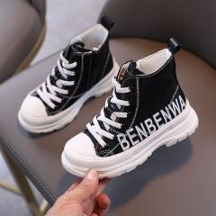 女童靴子2020年新款秋冬儿童低筒短靴男童马丁靴英伦风公主皮靴