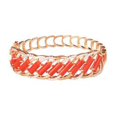 保丽金红珊瑚手镯套组 货号124571