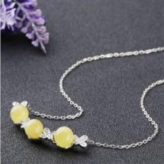 琳福珠宝 一生爱恋天然琥珀蜜蜡项链
