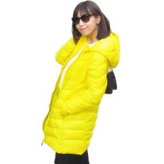 豐暖轻薄中长款黄色羽绒服女