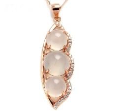 琳福珠宝  925银镶嵌玫瑰金冰种玉髓平安豆 福豆