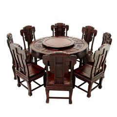 黑酸枝象头餐桌十件套