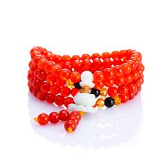 芭法娜 红果果 天然红玛瑙6mm108颗经典手链 配天然翡翠配饰 色红而浓 高透高色 本命年礼物