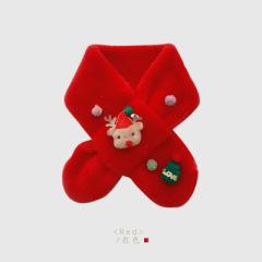 【两条装】儿童圣诞围巾秋冬防寒保暖男女童可爱卡通麋鹿毛绒交叉围脖冬