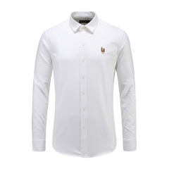 男士商务长袖休闲衬衫翻领白色百搭衬衫23635117