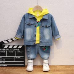 菲儿小屋   2020童装男童恐龙连帽卫衣春秋新款中小童长袖真牛仔裤三件套